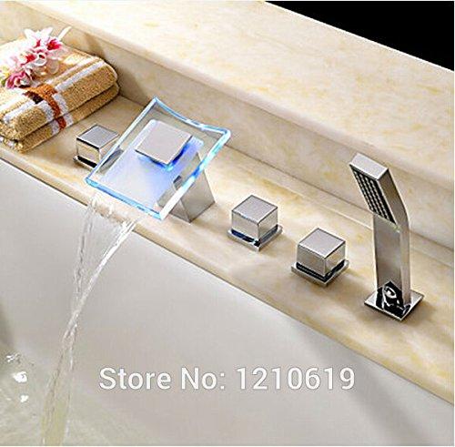 Nuovo 5pcs Hydropower a LED che cambia colore a cascata vasca da bagno rubinetto w/doccetta cromato Deck Mount White