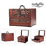 Luckyfine holz großen schmuck Kiste mit Spiegel 2 Schichten Kosmetische Koffer holz Schmuckschatulle