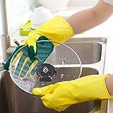 Putzhandschuhe Reinigungshandschuh Handschuhe mit Polier-Pad für Geschirr und Besteck