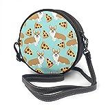 fhjhfgjghfjghfj Women Round Crossbody Bag Umhängetasche, Corgi Pizza Blue Handbag Purse Single...