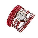Vovotrade Femmes Modus Lässige Armband En Cuir Montre-Armband Femmes Robe_Rot