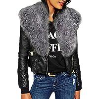 Keepwin Damenmode Cool Solid Langarm Faux Pelz Hals Reißverschluss Taschen PU Lederjacke Mantel