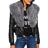 MEIbax Damen Winter Kunstleder Bikerjacke mit Pelz Hals Reißverschluss Taschen Mantel Jacke,Übergröße Einfarbig Langarm Lederjacke Mode Kurz Übergangsjacke Outwear