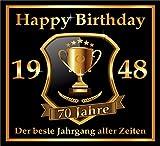 3 St. Aufkleber Original RAHMENLOS® Design: Selbstklebendes Flaschen-Etikett zum 70. Geburtstag: 1948 Der beste Jahrgang