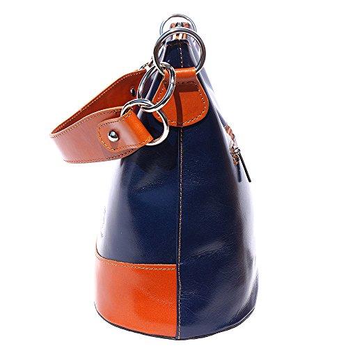 Schultertasche mit Riemen 8687 Marine blau-bräune