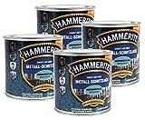 Hammerite Metallschutzlack 1l / 4x 250ml / metallblau - hammerschlag