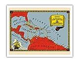 Pacifica Island Art Segelrouten der berühmten superschnellen Klipper Schiffe - Karibik - Vintage Retro Fluggesellschaft Reise Plakat c.1930 - Kunstdruck - 28cm x 36cm