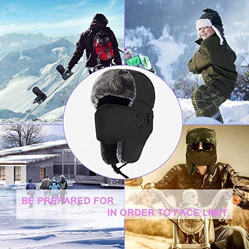 Imagen de aesy sombrero de caza unisexo invierno gorros rusos de soldado ushanka oreja solapa barbilla correa y a prueba de viento máscara alternativa