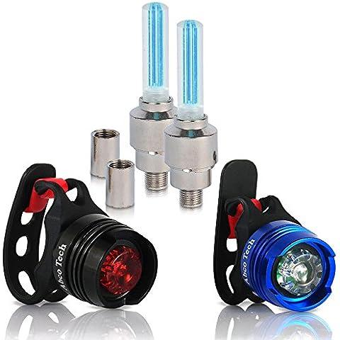 Bike Light – Front and Rear Aluminum LED Bike Light Set – 2 Valve Wheels Lights - 2 Waterproof High Intensity Multi-Purpose Rear Bike Light for Bicycle (blue)