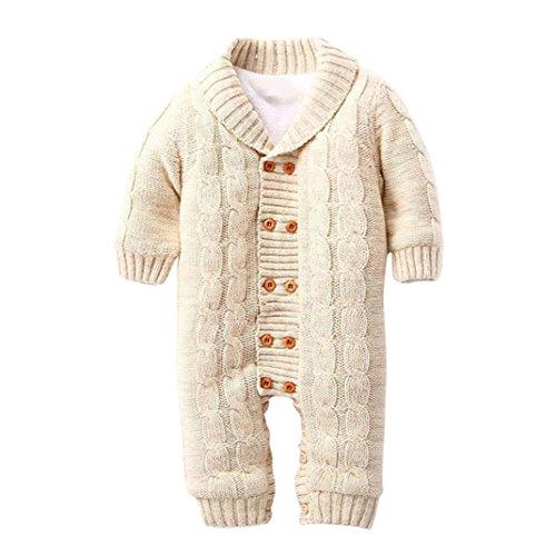 SUCES Neugeborenen Baby Button Strampler Revers Gestrickte Verdickt Pullover Jumpsuit Baby Winter Overall mit Kapuze Fleece Strampler Footed Spielanzug Mädchen Jungen Jumpsuit (6M, Khaki)