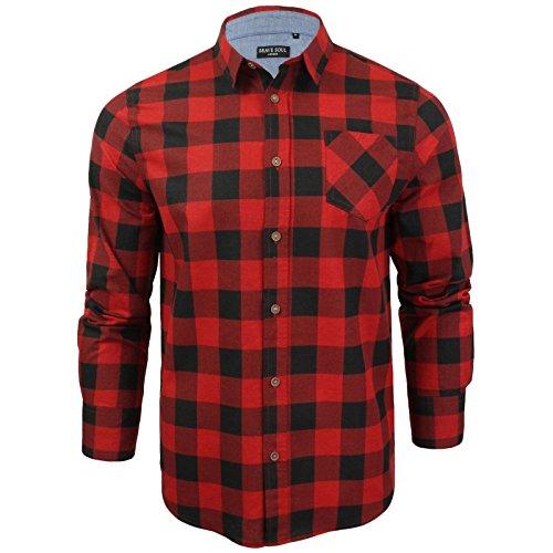 Herren Hemd von Brave Soul gebürstete Baumwolle, kariert, langärmlig (Rot Schwarz) XL