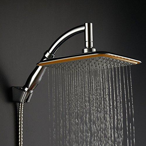 Soffione doccia ad alta pressione da 20,3cm, risparmio acqua, giunto girevole, quadrato, con staffa di supporto del tubo doccia. Style 02