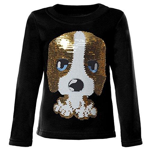 BEZLIT Mädchen Kinder Pullover Pulli Wende Pailletten Sweatshirt 21549, Farbe:Schwarz, Größe:110 (Lange T-shirt Mädchen)