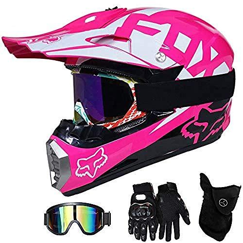 A Motocross Helm Kinder,Motorradhelm Motocrosshelm Kids Pink Vollvisier Offroad-Crosshelme Mit Schutzbrille Maskenhandschuhe Motorrad MTB Outdoorsport Motorradhelm,M(54~55Cm)
