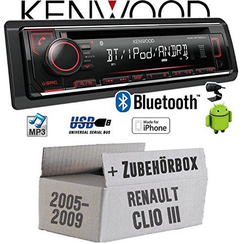 Renault Clio 3 - Autoradio Radio Kenwood KDC-BT520U - Bluetooth CD/MP3/USB - Einbauzubehör - Einbauset