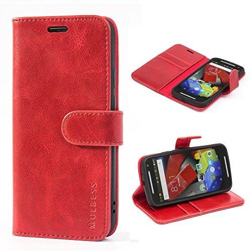 Motorola Moto E Generation 2. (Mulbess Ledertasche im Ständer Book Case / Kartenfach für Motorola Moto G (2. Generation) Tasche Hülle Leder Etui,Wine Rot)