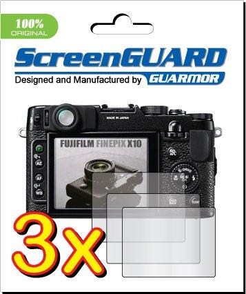 GUARMOR 3 x Fujifilm Fuji FinePix X10 Digitalkamera LCD Displayschutzfolien für Schutzfolie Kit, 100% Fit (3 Stücke) - Carry Case Lcd Guard