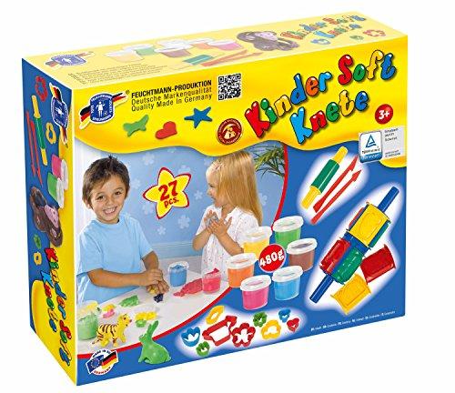 Feuchtmann Spielwaren 6285407 - Kinder Soft Knete Kreativ Box mit Knete, Walze, Ausstechförmchen, Teigrolle und Modellierwerkzeugen
