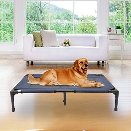 PawHut-Dog-Cat-Puppy-Pet-Elevated-Raised-Cot-Bed-Portable-Camping-Basket--Blue-Large