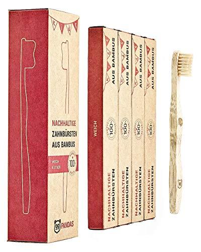 99PANDAS® | Nachhaltige Kinder-Zahnbürste im 4er Sparset aus Bambus-Holz | Extra kleiner Bürstenkopf mit angenehm weichen Borsten für gesunde Kinderzähne | plastikfrei verpackt (Extra Weiche Zahnbürste Für Kinder)