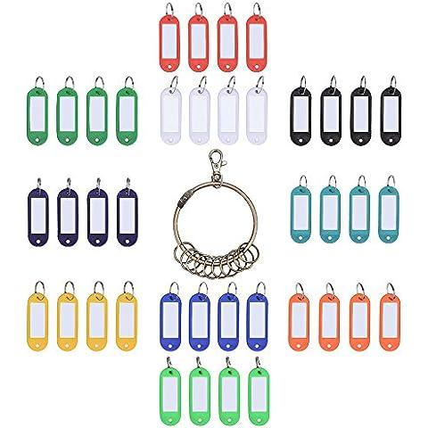 Outus Etiquetas de Plástico de ID de Llavero Fob Etiquetas de ID de Equipaje con Anillo de Llaves Separable 40 Piezas y Llavero Retro