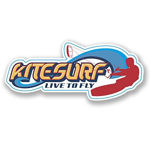2 x Kite Surf Vinyl Sticker Surfing Wakeboard Laptop Car Gift Decal Wave #4365
