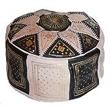 Marrakech Accessoires Orientalisches Sitzkissen Pouf Bodenkissen Hocker Leder Kissen Ø 60 cm