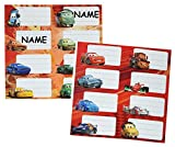 16 Stk. Sticker für Hefte - Disney Cars Lightning McQueen - Heftetiketten Cars Auto - Etiketten Schulheft Aufkleber Heft für Jungen Mc Queen Auto Fahrzeuge Namenssticker