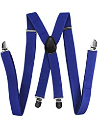Tirantes para hombre de alta calidad de Axy anchos de 2,5 cm con 4 clips fuertes en forma de X, también para señora
