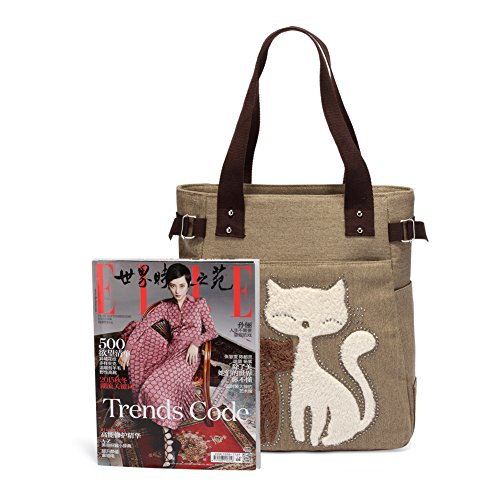 KAUKKO Donne Canvas Handbag Shopping bag Cachi Entrega Rápida Barato Envío Libre Comercializable Salida Mejor Tienda Para Comprar OPvWA