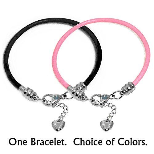 Timeline treasures–bracciale per donna, in pelle e acciaio, compatibile con charm pandora, moschettone, rosa, 18 cm (7 inch)