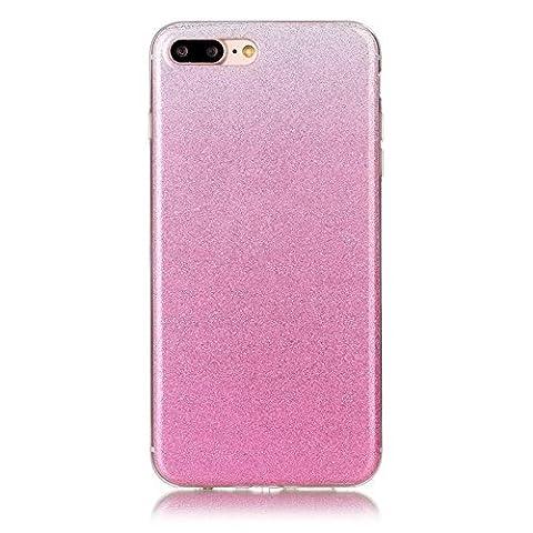 Teryei® Coque iPhone 7 Plus Silicone Housse Transparente Étui Protection TPU Clair Cover Bumper Ultra Mince Souple Pour Flexible Simple Case Apple iPhone 7 Plus - Couleur dégradée clignotante (poudre)