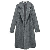 Beiersi Womans Fashion Fleece Open Front Coat Teddy Bear Jacket Fleece Lapel Coat Jacket Long Winter for Women (M, Gray)