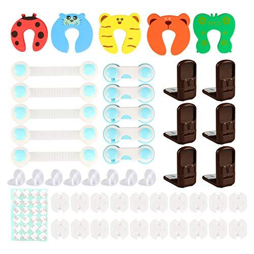 Kinder-Sicherheitsset, Yokunat 6Pcs Schiebetürschlösser, 5Pcs Türfeilen, 8Pcs Sicherheitsschlösser für Baby-Proofing Schränke, Schubladen, Haushaltsgeräte