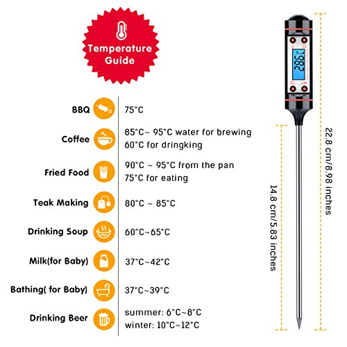 Topop Kitchen Cooking Thermometer, Digital Multi-functional Food Thermometer with Instant Read, Long Probe, LCD Screen, Anti-Corrosion, Best for Food, Barbecue, Meat, Grill, BBQ, Milk, Wine and Water (Battery Included)