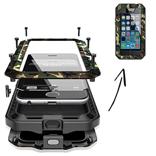 FINOO | Wasserdichte Outdoor Handy Hülle für Iphone SE mit Aluminium Legierung | Stoßfestes robustes Metall Armor Case Cover | Panzer Hülle mit Gorilla Glas | Farbe schwarz Camouflage