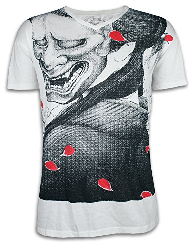 Ako roshi t-shirt da uomo shiroi akuma - diavolo bianco taglia m l xl arti marziali giappone tatuaggio (l, bianco)