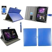 Emartbuy® Woxter Zen 10 Tablet 10.1 Pulgada Universal Range Azul Ángulo Múltiples Executive Folio Funda Carcasa Wallet Case Cover Con Tarjeta de Slots + Azul Lápiz Óptico