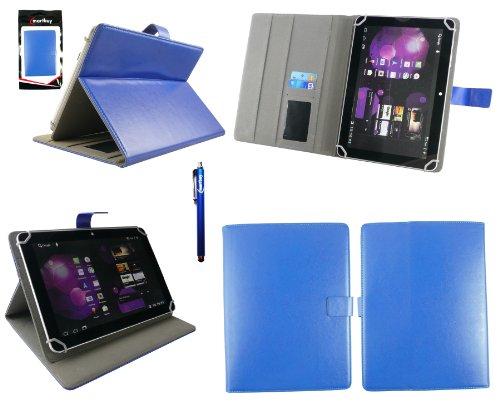 Emartbuy® Blau Eingabestift + Universalbereich Blau Multi Winkel Folio Executive Case Cover Wallet Hülle Schutzhülle mit Kartensteckplätze Geeignet für Odys Visio 10.1 Zoll Tablet