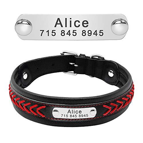 PET ARTIST Leder Hundehalsband mit Namen Gravur, Personalisiertes Hund Halsband Hundenamen geflochten für Hunde, Rot Blau M/L/XL