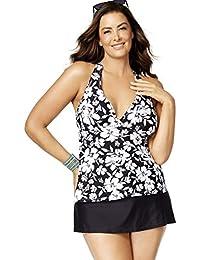 332608e1b205d Island Escape Women's Plus Size Floral Cutout-Back Tankini Top