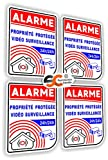Sticker Alarme Vidéo Surveillance Autocollant (Lot de 4 Stickers)