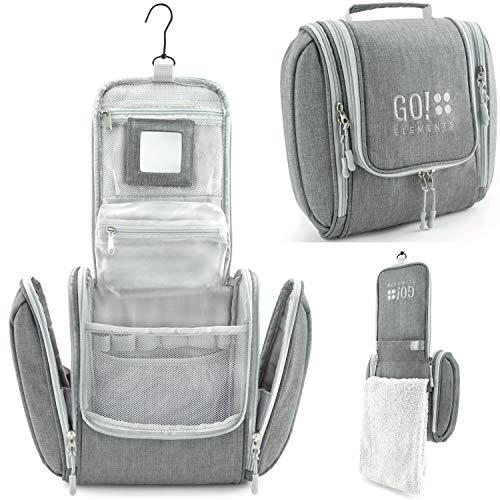 Go!elements® borsa da toilette per appendere uomini e donne   borsa cosmetica grande uomo donna per valigie e bagagli a mano   borsa da viaggio wash bag, color:grigio