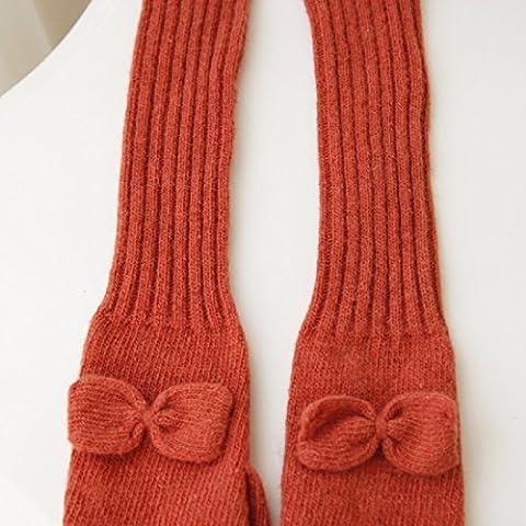 KHSKX Winter bow ladies manicotto lungo il braccio calda lana lavorato a maglia a mezze dita guanti,arancione