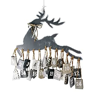 """Adventskalender """"Rentier"""" aus Holz mit 24 Jute Säckchen zum Aufhängen inkl. Aufhängeset"""