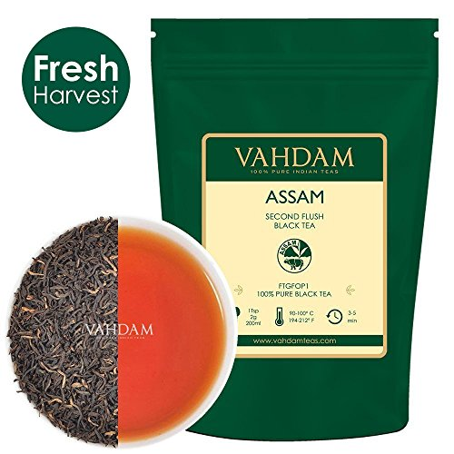 Assam Black Tea Leaves (200+ Tassen), STARK, MALTY & REICH, Loose Leaf Tee, 100% Pure Ungemischt, Single Origin Schwarztee Loose Leaf, Gebräu Heißer Tee, Eistee, Kombucha Tee, FTGFOP1 Long Leaf Grade, 454g
