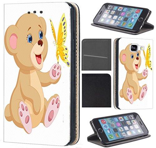 CoverFix Premium Hülle für Apple iPhone 6 / 6s Flip Cover Schutzhülle Kunstleder Flip Case Motiv (1197 Teddy Cartoon Bär Braun Weiß) - Vorne Leder Teddy