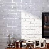 ACCEY 1 M Autocollant Non-tissé Tissu Pierre Brique Papier Peint Pour Murs Rouler Faux 3D Fonds D'écran Pour Salon Restaurant Mur Papier @ White_60x100CM