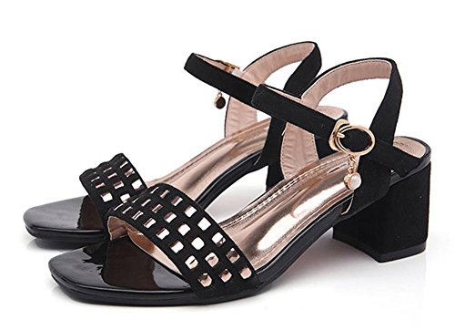 Sommer rau mit der Wort Wildleder Schnalle Sandalen sind bequem mit offenen Sandalen weibliche wilden Black