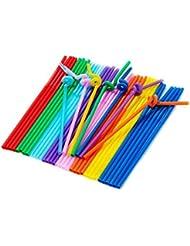 """TININNA 100 Pailles Flexibles Fluo Respectueux De Lenvironnement Flexible """"Spirale"""" En Plastique Bandé Jetables Boire Pailles (couleurs assorties)"""